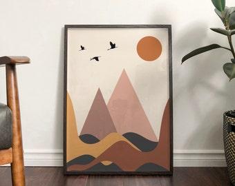 Autumn 'Mountains' Abstract Print