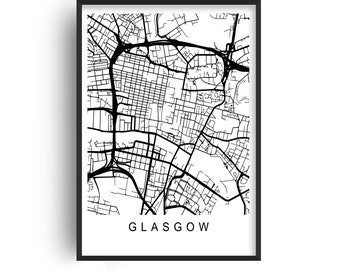 Glasgow Map Print