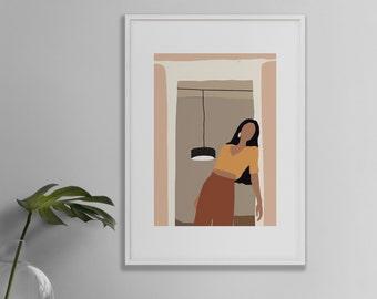 Mica Sand Girl Doorway Abstract Print