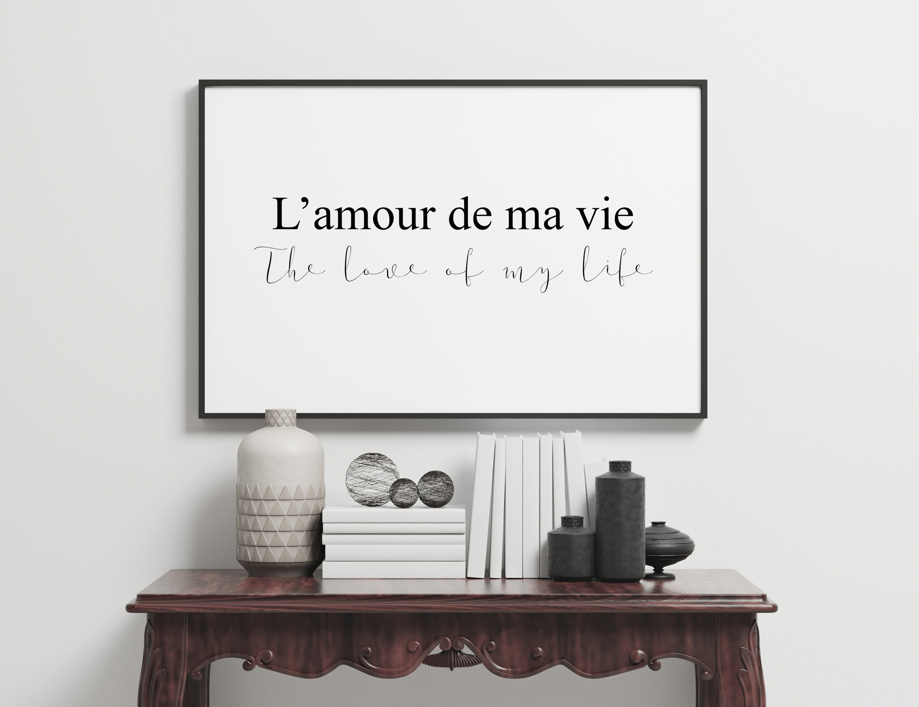 L'amour French Meaning Love Of My Life Inspirational Quote Black Home  Bedroom Typography Design Premium Poster Print Picture Wall Art X2
