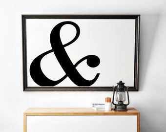 And & Letter Family Table Black Quote Gift Bedroom Inspirational Typography Decor Home Wall Art Poster Giclée Print Picture Framed Gallery