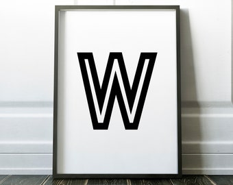 Letter W Personalised Retro Name Print