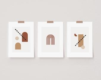 Set of 3 Abstract Mica Rainbow Prints