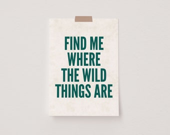 Find Me Where The Wild Things Are Green & Beige Mini Postcard Print