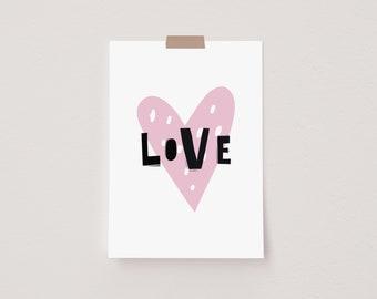 Love Heart Scandi Mini Postcard Print