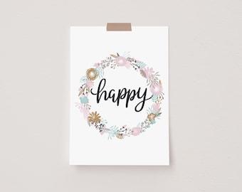 Happy Pink Floral Mini Postcard Print