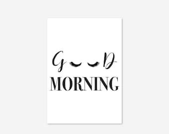 Good Morning Eyes Fashion Lashes Illustration Mascara Humour Make Up Inspirational Fine Art Poster Print Giclee Home Decor Picture Wall