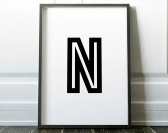 Letter N Personalised Name Print Retro Bold Family Living Room Gallery Kids Play Room Typography Wall Art Colour Print   Custom Design Gift