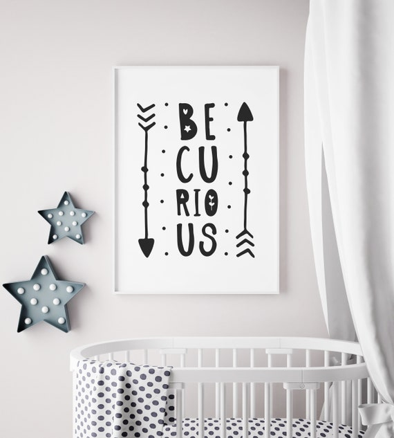 Be Curious Letters Arrows Learning Fun Bedroom Idea Black Etsy