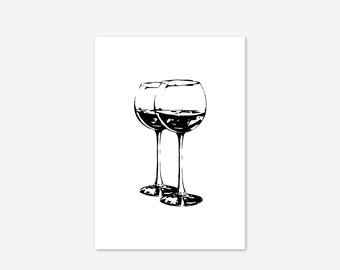 Wine Glasses Black Kitchen Family Gift Funny Fine Art Poster Print Giclee Designs Home Decor Picture Typography Wall Art Motivational Sign