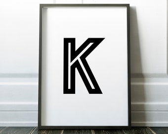 Letter K Personalised Name Print Retro Bold Family Living Room Gallery Kids Play Room Typography Wall Art Colour Print   Custom Design Gift