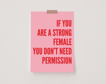If You Are a Strong Female You Don't Need Permission Pink & Red Mini Postcard Print