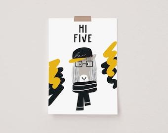 Hi Five Animal Pop Mini Postcard Print