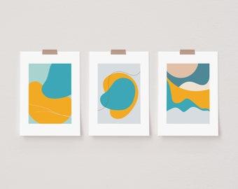 Set of 3 Abstract Mita Teal Prints