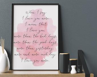 Love You More Pink Watercolour Wall Art Print