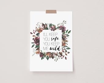 Keep Me Wild Autumn Floral Mini Postcard Print