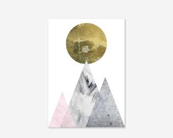 Luna Gold Moon Sun Mountains Marble