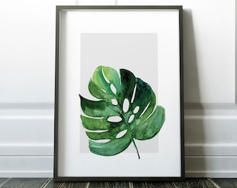 Large Leaf Exotic Green Plant Leaves Tropical Gallery Wall Art Giclée Poster Print   Minimal Kitchen Living   Bedroom Home Decor Pictures