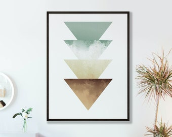 Abstract Green Beige Watercolour Triangles Print