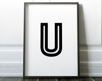 Letter U Personalised Name Print Retro Bold Family Living Room Gallery Kids Play Room Typography Wall Art Colour Print   Custom Design Gift