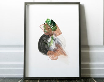 Round Abstract Leaf Exotic Green Plant Leaves Tropical Gallery Wall Art Giclée Poster Print Minimal Kitchen Living Bedroom Home Decor Pictur