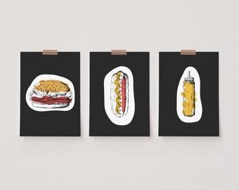 Set of 3 Kitchen Food Prints