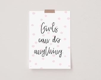 Girl's Can Pink Mini Postcard Print