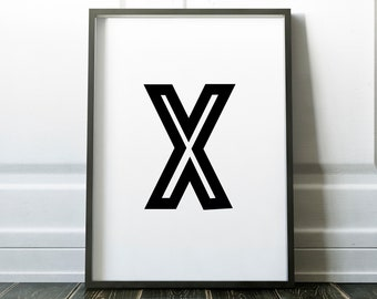 Letter X Personalised Name Print Retro Bold Family Living Room Gallery Kids Play Room Typography Wall Art Colour Print   Custom Design Gift