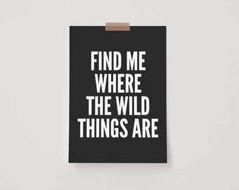Find Me Where The Wild Things Are Black Mini Postcard Print