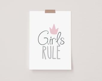 Girl's Rule Mini Postcard Print