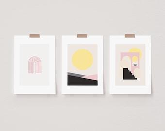 Set of 3 Abstract Mila Sun Prints