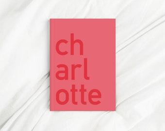 Custom Contrast Corner Name Red Letter Print Diary