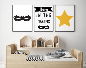 Set of 3 Gallery Wall Art Prints | Hero In The Making Superhero Mask Yellow Star Scandinavian Kids Room Nursery Decor | Black & White Images