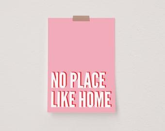No Place Like Home Pink & Red Mini Postcard Print