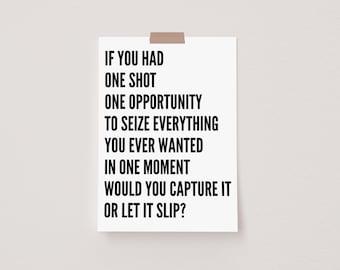 One Shot One Opportunity White Mini Postcard Print