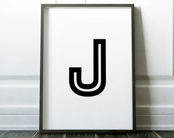 Letter J Personalised Name Print Retro Bold Family Living Room Gallery Kids Play Room Typography Wall Art Colour Print   Custom Design Gift
