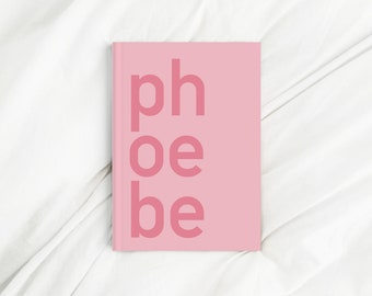 Custom Contrast Corner Name Pink Letter Print Diary