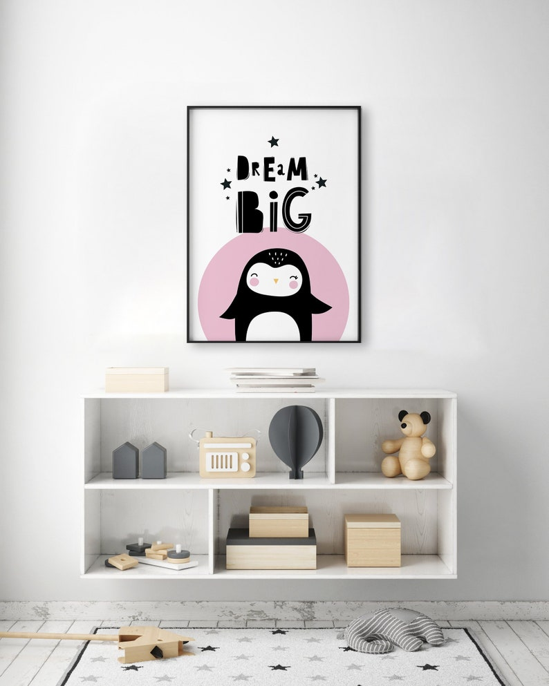 Scandi Penguin Pink Circle Black Animal Dream Big Neutral Unisex Nursery  Decor | Kids Play Room | Wall Art Gloss Colour Print Gallery Art