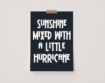 Sunshine Mixed With a Little Hurricane Black Mini Postcard Print