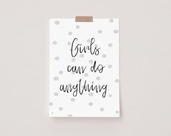 Girl's Can Grey Mini Postcard Print