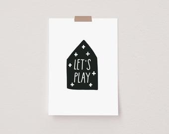 Let's Play House Black Mini Postcard Print