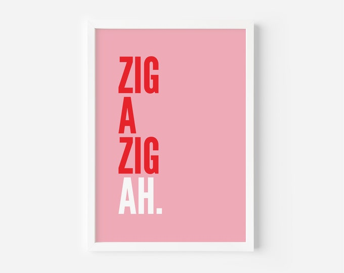 Featured listing image: Zig A Zig Ah Pink and Red Print