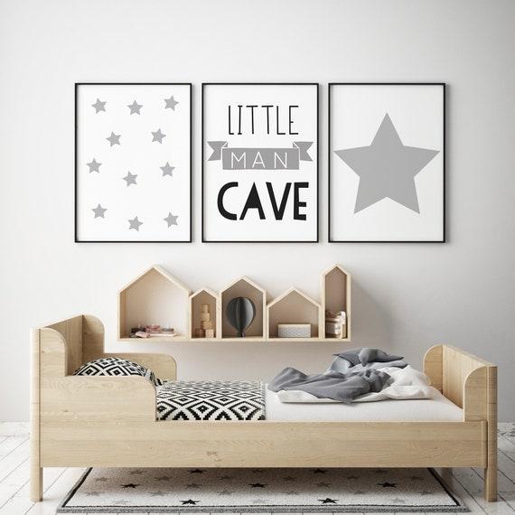 Set of 3 Little Man Cave Banner Mint /& Black Prints Nursery Boys Room Wall Art