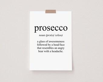 Prosecco Meaning Mini Postcard Print