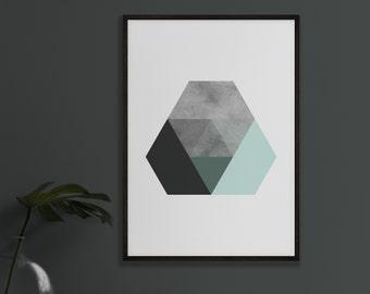 Abstract Mint Green & Black Geometric Hexagon Print
