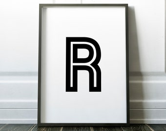 Letter R Personalised Retro Name Print