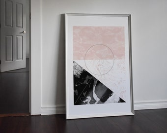 Marble Pink and Black Rectangle Abstract Print