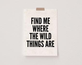 Find Me Where The Wild Things Are Black & Beige Mini Postcard Print