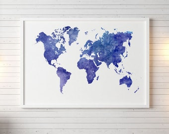 Watercolor world map etsy gumiabroncs Image collections