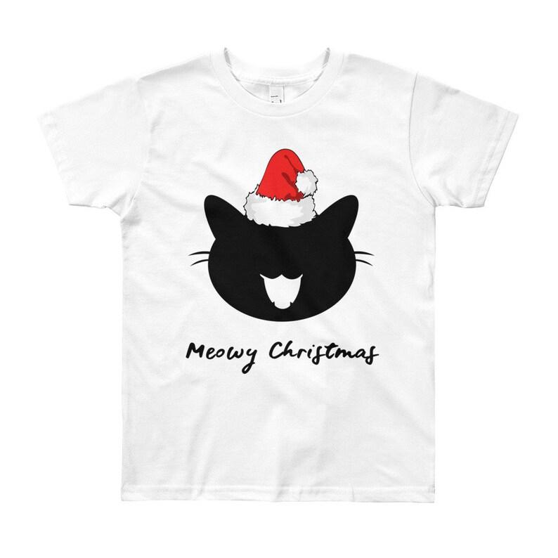fd0e94011 Girl's Christmas T-Shirt Meowy Christmas T Shirt Cat | Etsy